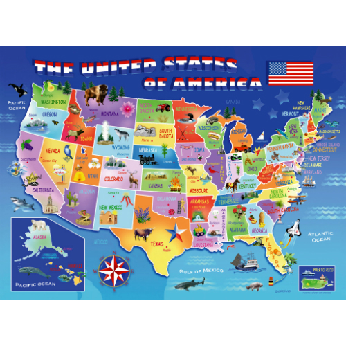 USA State Map 100 Piece Puzzle - Smart Kids Toys